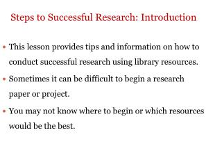 Steps to Successful Research: Introduction
