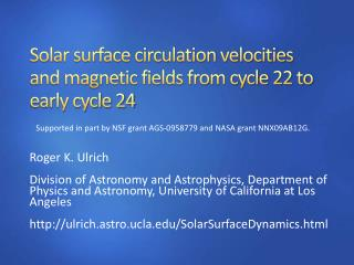 Solar surface circulation velocities and magnetic fields from cycle 22 to early cycle 24