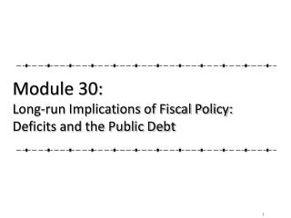 Module 30: Long-run Implications of Fiscal Policy: Deficits and the Public Debt