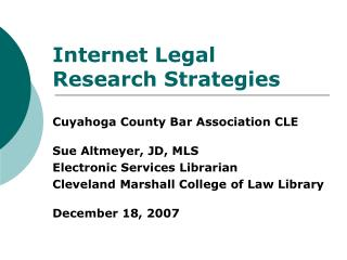 Internet Legal Research Strategies Cuyahoga County Bar ...