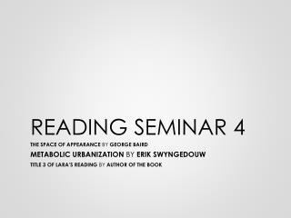 READING SEMINAR 4