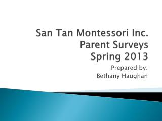 San Tan Montessori Inc. Parent Surveys Spring 2013