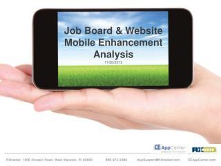 Job Board & Website Mobile Enhancement Analysis 11/20/2013