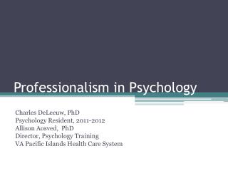Professionalism in Psychology