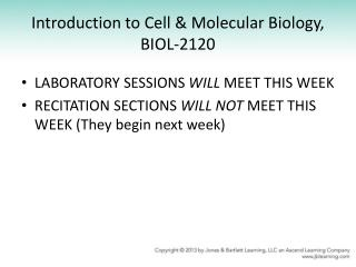 Introduction to Cell & Molecular Biology, BIOL-2120