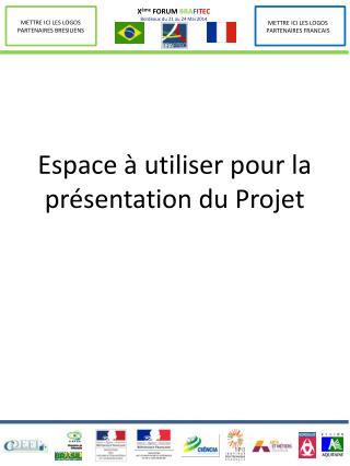 Espace à utiliser pour la présentation du Projet