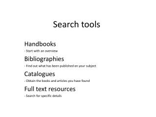 Search  tools