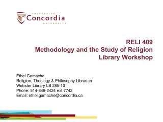 RELI  409  Methodology  and the Study of Religion  Library Workshop