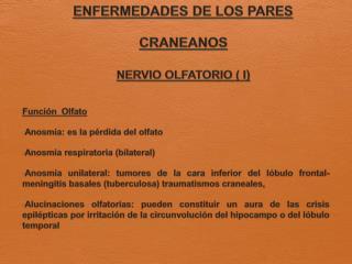ENFERMEDADES DE LOS PARES CRANEANOS NERVIO OLFATORIO ( I )