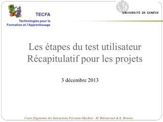 Les étapes du test utilisateur Récapitulatif pour les projets