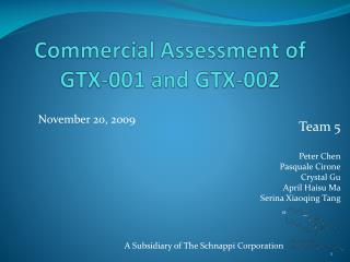 Commercial Assessment of GTX-001 and GTX-002
