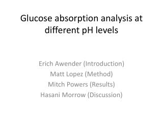 Glucose absorption analysis at different pH levels