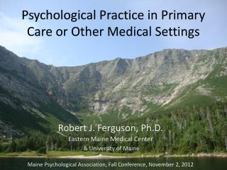 Psychological Practice in Primary Care or Other Medical Settings