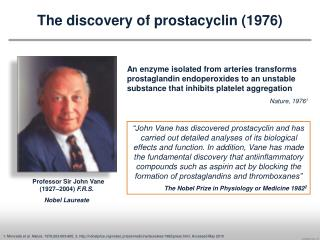 The discovery of prostacyclin (1976)