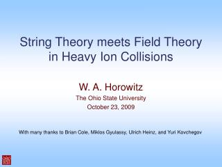 String Theory meets Field Theory in Heavy Ion Collisions