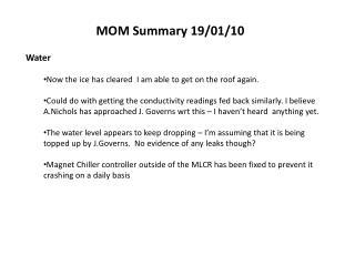 MOM Summary  19/01/10