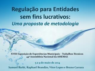 Regulação  para Entidades sem fins lucrativos:  Uma proposta de metodologia