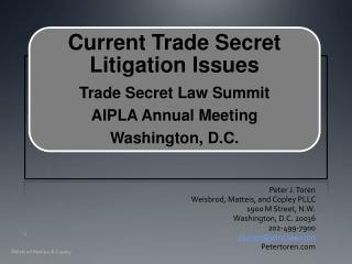 Peter J. Toren Weisbrod, Matteis, and Copley PLLC 1900 M Street, N.W. Washington, D.C. 20036