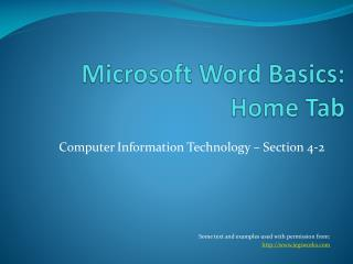 Microsoft Word Basics: Home Tab
