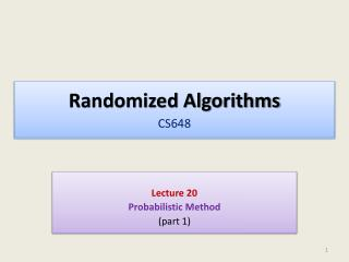 Randomized Algorithms CS648