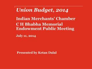 Union Budget,  2014
