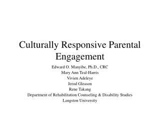 Culturally Responsive Parental Engagement