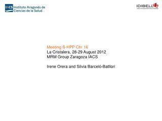 Meeting S-HPP  Chr  16  La  Cristalera , 28-29 August 2012 MRM Group Zaragoza IACS