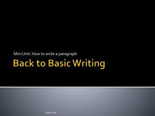 Back to Basic Writing
