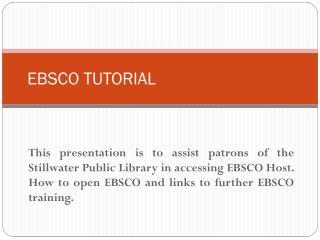 EBSCO  TUTORIAL