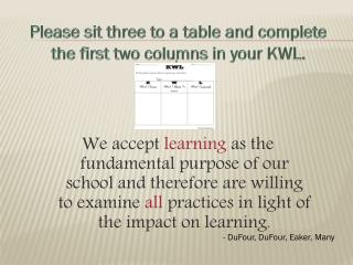Please sit three to a table and complete the first two columns in your KWL.