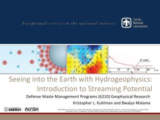Seeing into the Earth with  Hydrogeophysics : Introduction to Streaming Potential
