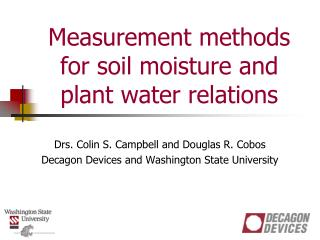 Measurement methods for soil moisture and plant water relations