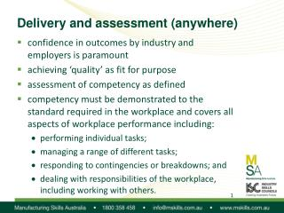 Delivery and assessment (anywhere)