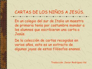 CARTAS DE LOS NI OS A JES S.
