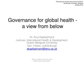 Governance for global health - a view from below