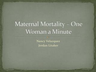 Maternal Mortality – One Woman a Minute