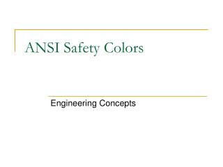ANSI Safety Colors