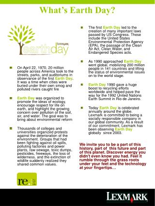 Earth Day Educational Leaflet