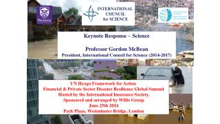 UN Hyogo Framework for Action  Financial & Private Sector Disaster Resilience Global Summit
