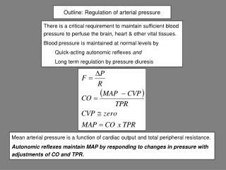Outline: Regulation of arterial pressure