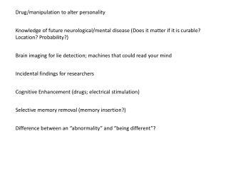 Cognitive Enhancement (drugs; electrical stimulation )
