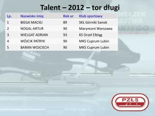 Talent – 2012 – tor  długi