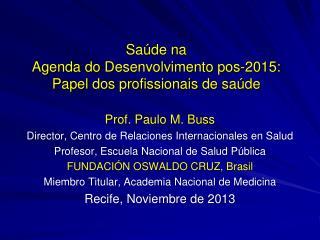 Saúde na Agenda do  Desenvolvimento pos-2015: Papel dos  p rofissionais  de  sa úde