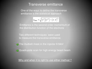 Transverse emittance