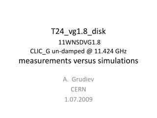 T24_vg1.8_disk 11WNSDVG1.8 CLIC_G un-damped @ 11.424 GHz measurements versus simulations