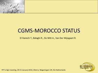 CGMS-MOROCCO STATUS
