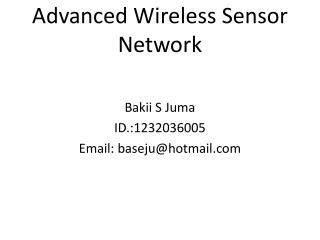 Advanced Wireless Sensor Network