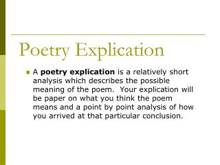 Help with poetry explication!?