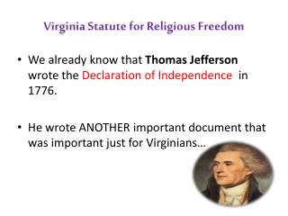Virginia Statute for Religious Freedom