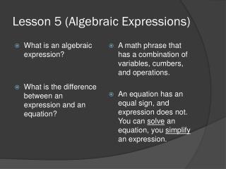 Lesson 5 (Algebraic Expressions)